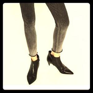 Zara Black Embossed Leather Low Heel Ankle/Booties